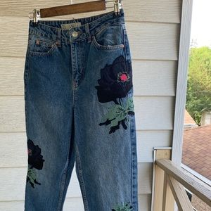 Topshop embroidered flower mom jeans